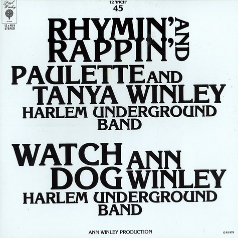 Paulette & Tanya Winley - Rhymin' and rappin'