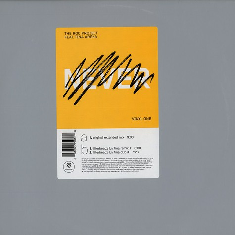 Roc Project, The - Never (past tense) vinyl 1 feat. Tina Arena