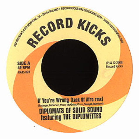 Diplomats Of Solid Sound - If You're Wrong Lack Of Afro Remix