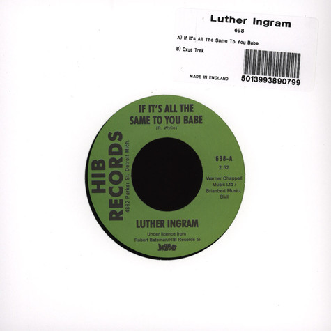 Luther Ingram - If It's All The Same To You Baby