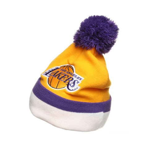 Mitchell & Ness - Los Angeles Lakers Jersey Stripe Cuffed Knit with Pom Beanie