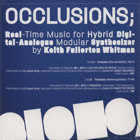 Keith Fullerton Whitman - Occlusions