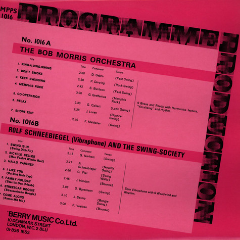 Bob Morris Orchestra, The / Rold Schneebiegel And The Swing Society - Programme Production Number 16