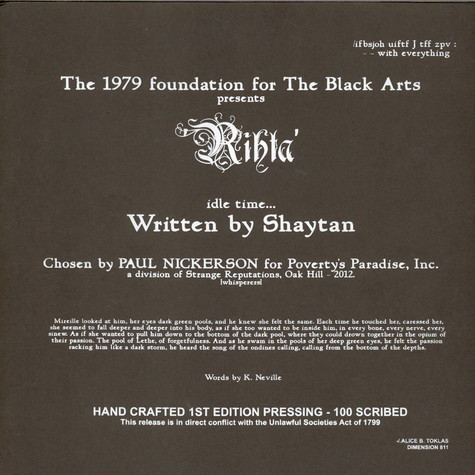 1979 Foundation For The Black Arts Presents Shaytan, The - Rihta