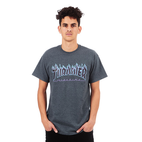 a12f82abeba9 Thrasher - Flame T-Shirt (Dark Heather) | HHV