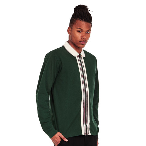 aab9f3dc48215 Stüssy - Full Zip Longsleeve Polo Shirt (Forest)