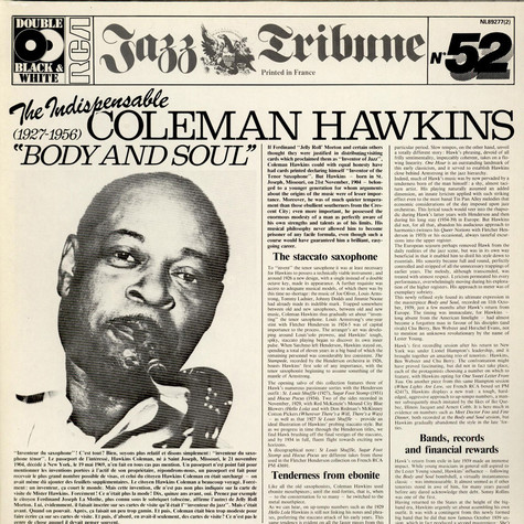 """Coleman Hawkins - The Indispensable Coleman Hawkins """"Body And Soul"""" (1927-1956)"""