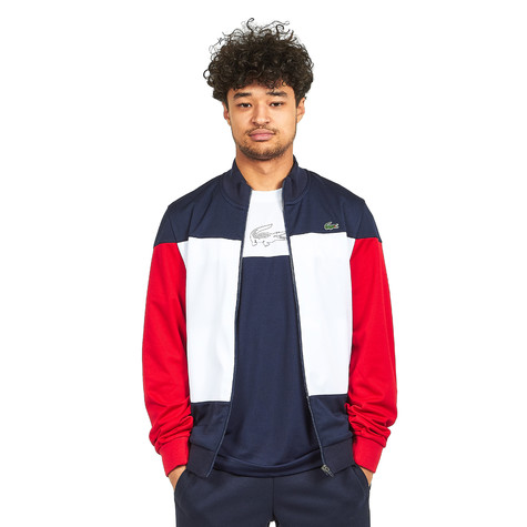 ba29fecb Lacoste - Run Resistant Pique Track Top (Navy Blue / White / Red) | HHV