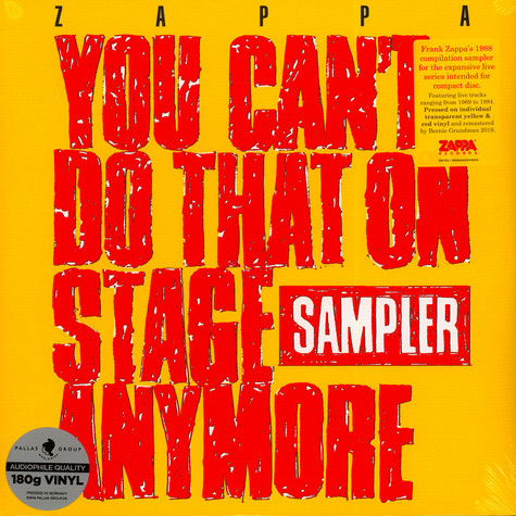 Frank Zappa - You Can't Do That On Stage Anymore Sampler Transparent Red & Transparent Yellow Record Store Day 2020 Edition