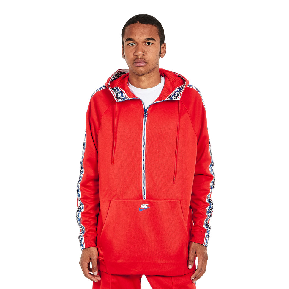 Nike NSW Taped Half Zip Hooded Poly (University Red Sail)